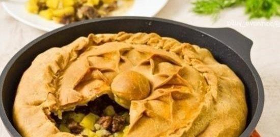 Мясной пирог с бульоном кулинарный рецепт