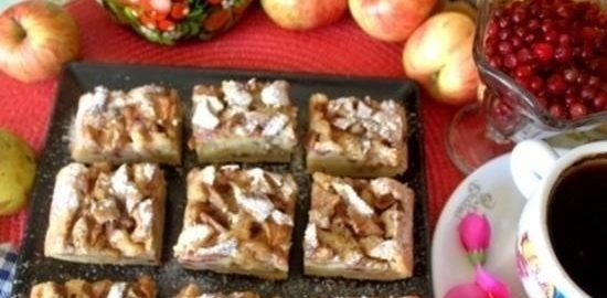 Пирог с яблоками и грушами кулинарный рецепт