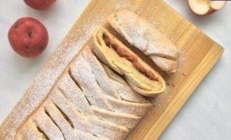 Творожная плетенка с яблочной начинкой кулинарный рецепт