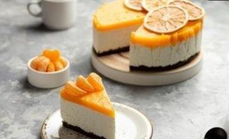 Творожный чизкейк с мандаринами кулинарный рецепт
