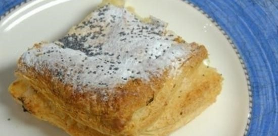 Яблочно-творожный пирог из слоеного теста кулинарный рецепт